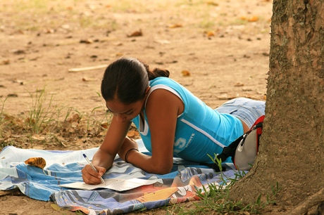 girl writing