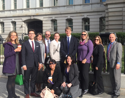The 2014 and 2015 ESA Science Policy Fellows cohorts outside of the Eisenhower Executive Office Building in Washington D.C.