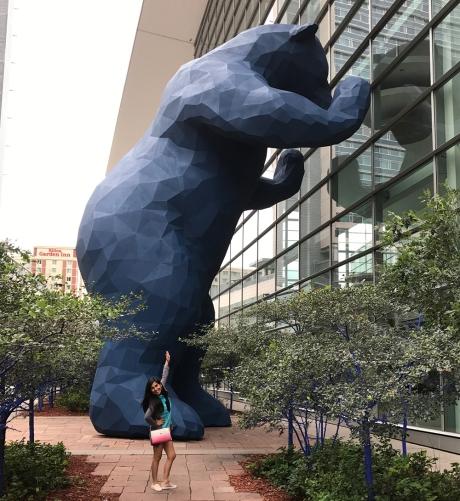 Lina Bernaola and Big Blue Bear